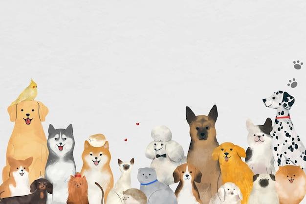 Dierlijke achtergrondvector met illustratie van schattige huisdieren