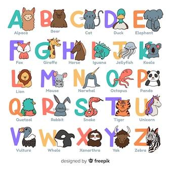 Dierlijke alfabet collectie tekening