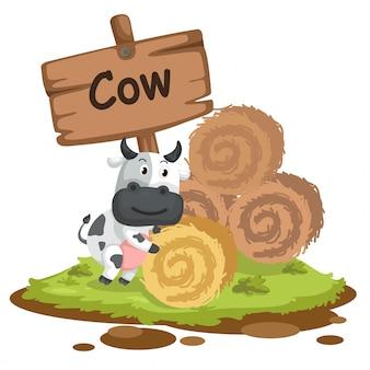 Dierlijke alfabet letter c voor koe