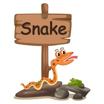 Dierlijke alfabet letter s voor slang