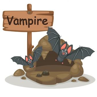 Dierlijke alfabet letter v voor vampier