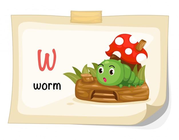 Dierlijke alfabet letter w voor worm illustratie vector