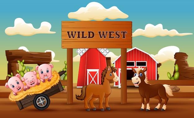 Dierlijke boerderij in het wilde westen landschap