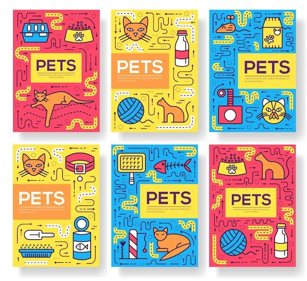 Dierlijke brochure kaarten dunne lijn set. leuke huis huisdieren sjabloon van flyear, boekomslag, banners.