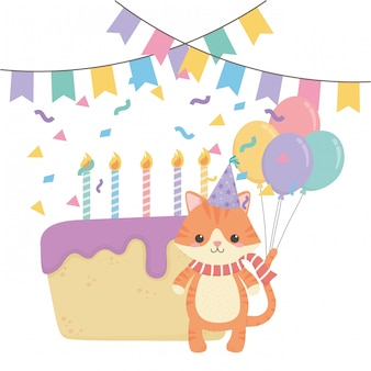 Dierlijke cartoon met gelukkige verjaardag