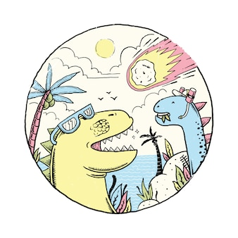 Dierlijke dinosaurus asteroïde dag