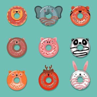 Dierlijke donut illustratie collectie