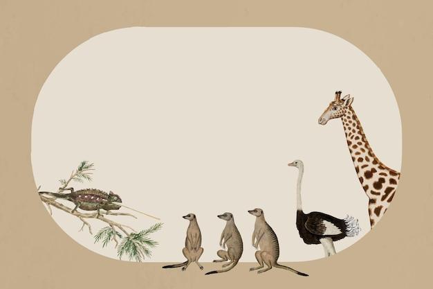 Dierlijke frame vector wildlife vintage aquarel tekening, geremixt van de kunstwerken van robert jacob gordon
