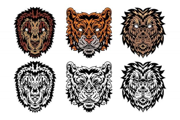 Dierlijke gezicht leeuw, tijger vintage retro stijl.