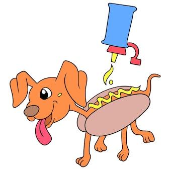 Dierlijke hotdogs met het gieten van mayonaise ingeklemd op brood, vectorillustratieart. doodle pictogram afbeelding kawaii.