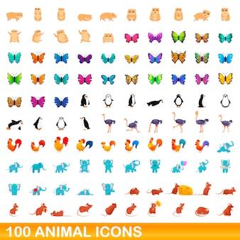 Dierlijke iconen set, cartoon stijl