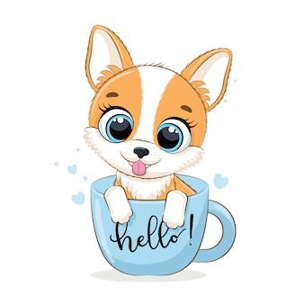 Dierlijke illustratie met schattige kleine hond in de beker.