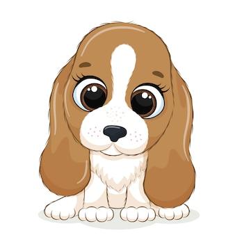 Dierlijke illustratie met schattige kleine hond.