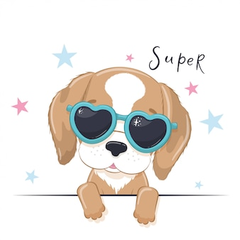 Dierlijke illustratie met schattige meisjeshond met bril.
