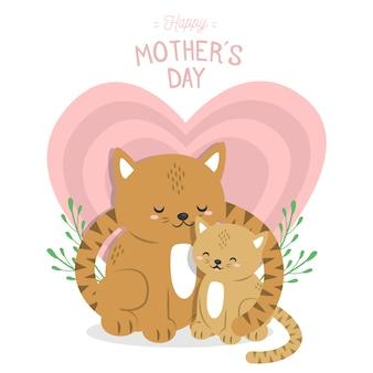 Dierlijke illustratie voor moeders dag concept