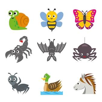 Dierlijke invoegen cartoon vector icon set