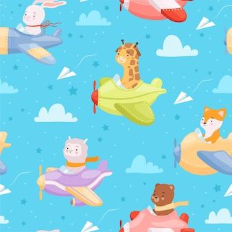 Dierlijke jong geitjekarakters in vliegtuigen die het textielontwerp van de helikopterbaby vliegen