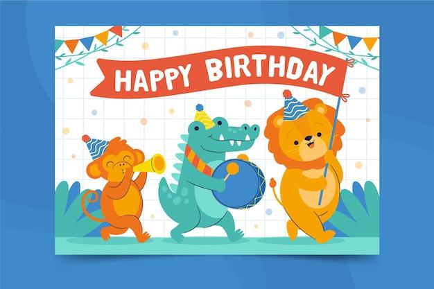 Dierlijke kaart afdruksjabloon gelukkige verjaardag Premium Vector
