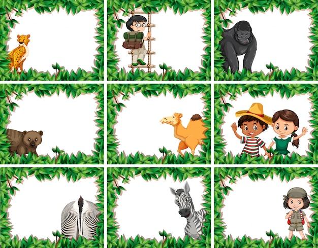 Dierlijke kaders met cheetah, aap, kameel, zebra met verlofkader