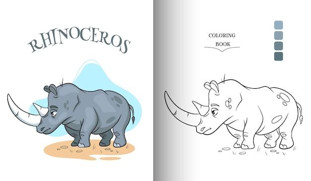 Dierlijke karakter grappige neushoorn in cartoon stijl kleurplaat.