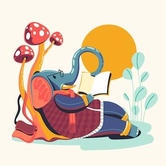 Dierlijke karakters die boeken vectorillustratie lezen. olifant boekenwurm