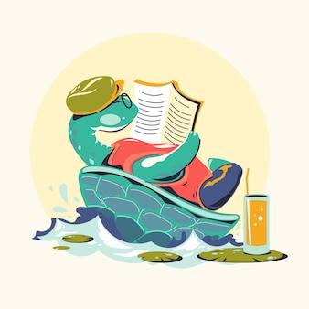 Dierlijke karakters die boeken vectorillustratie lezen. turtle bookworm