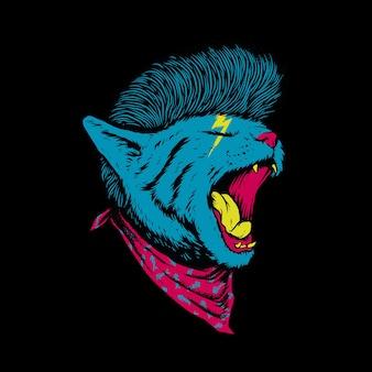 Dierlijke kat rock stijl brullen illustratie