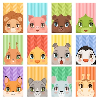 Dierlijke kinderen portret. lion pinguïn giraffe krokodil vos baby dieren avatars met hoofd oren neus hond muis varken cartoon kaarten