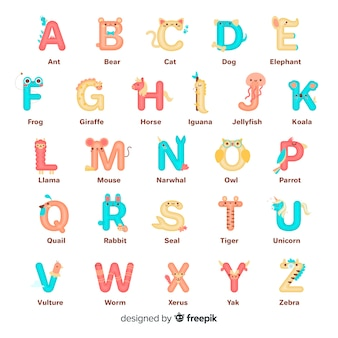 Dierlijke letter vorm alfabet collectie