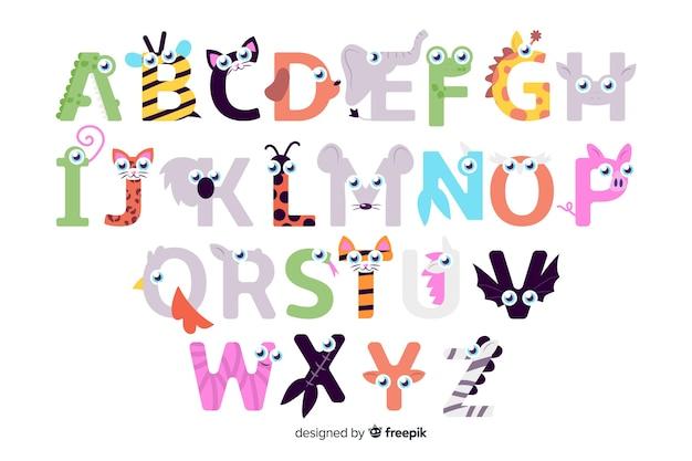 Dierlijke letters van a tot z alfabet