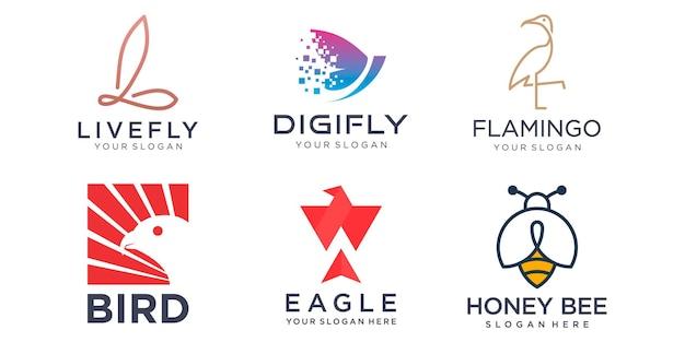 Dierlijke logo-collectie, adelaar, vogel, flamingo, vlinder, draak, feniks, bijenhoning, vectorsymbool