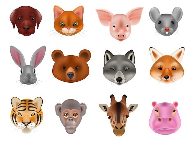 Dierlijke masker vector animalistische maskeren gezicht van wilde tekens dragen wolf konijn en kat of hond op maskerade illustratie set carnaval gemaskerde kostuum aap masker geã¯soleerd.