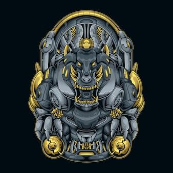 Dierlijke monster cyberpunk illustratie