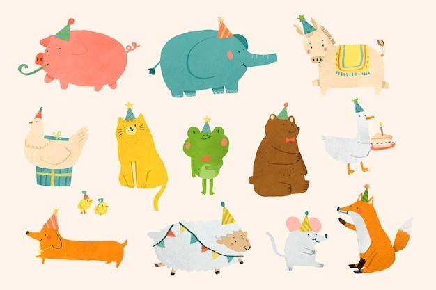 Dierlijke partij doodle ontwerp