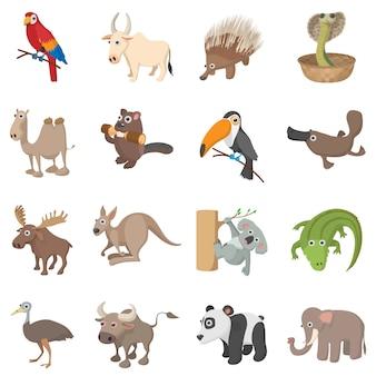 Dierlijke pictogrammen die in geïsoleerde beeldverhaalstijl worden geplaatst