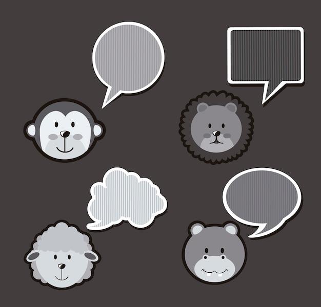 Dierlijke pictogrammen over grijze achtergrond vectorillustratie