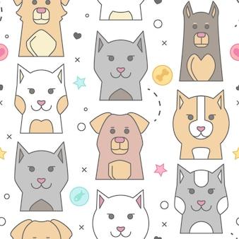 Dierlijke portret met platte ontwerp chagrijnig kat illustratie