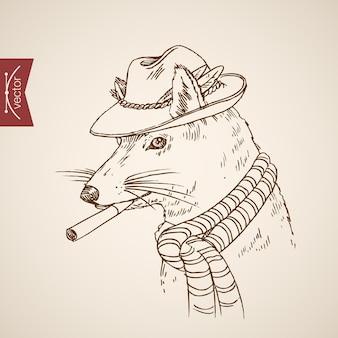 Dierlijke rat muis hoofd hipster stijl mens zoals kleding accessoire hoed sjaal sigaret dragen.