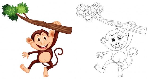 Dierlijke schets voor aap opknoping op hout