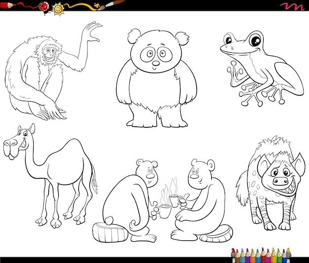 Dierlijke stripfiguren instellen kleurboekpagina