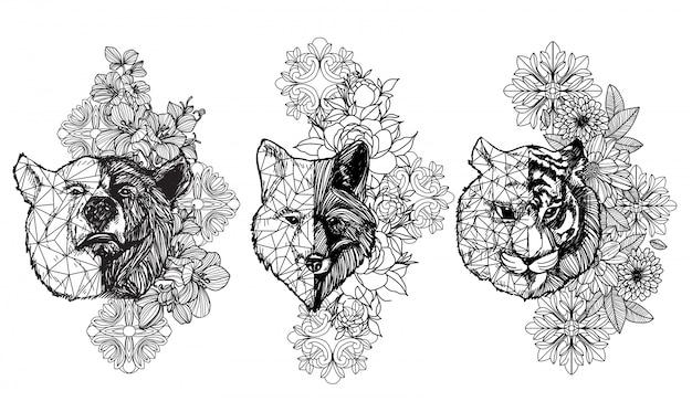 Dierlijke tekening en schets van de tatoegeringskunst zwart-wit met lijnart