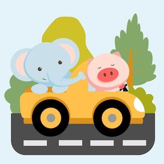 Dierlijke tekenset met olifant en varken in de auto