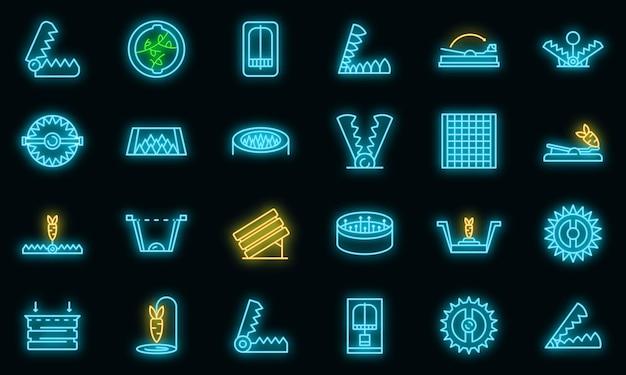 Dierlijke val pictogrammen instellen. overzicht set van dierenval vector iconen neon kleur op zwart