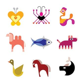 Dierlijke vector icon set