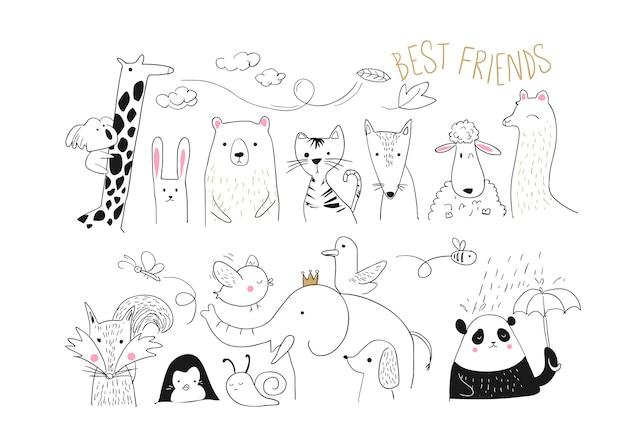 Dierlijke vrienden collectie illustratie