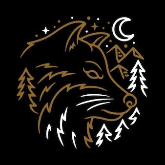 Dierlijke wolf night line grafische illustratie vector art t-shirt design
