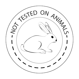 Dierproefvrij. omtrek konijn symbool met belettering niet getest op dieren. icoon voor producten, wat niet op dieren is getest. zwart rond pictogram met een konijn. vector