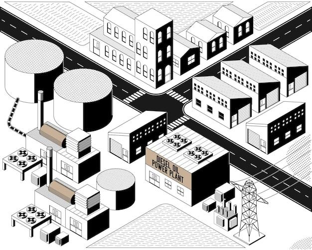 Dieselolie-energie, dieseloliecentrale met isometrische grafische zwart-witte kleur