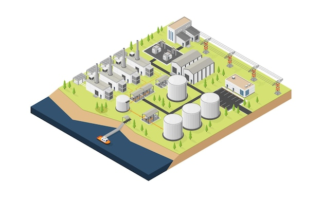 Dieselolie-energie dieseloliecentrale met isometrische stijl