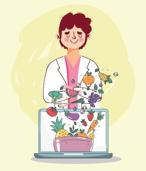 Diëtist arts laptop verse markt biologische gezonde voeding met groenten en fruit illustratie